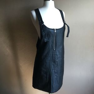 Free People Black Faux Leather Mini Overall Dress